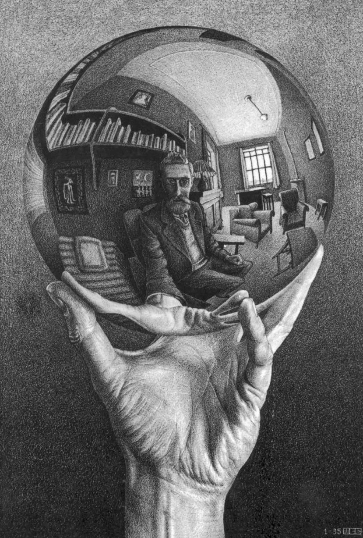 M. C. Escher, Mano con sfera riflettente, 1935